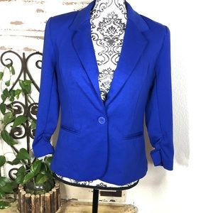 Christian Soriano blue ruched 3/4 sleeve blazer